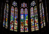 Paris - sanctuar windowpane of Saint Denis cathedral