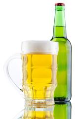 Beer mug and bottle isolated on white background