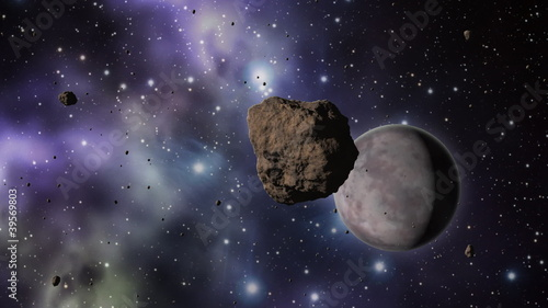 Asteroid field with planets and stars