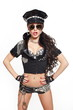 sexy fashion brunette semi nude police woman