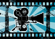 Abstract grunge background with movie camera, vector
