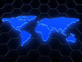 3d blue glowing map over black