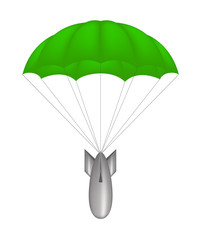 Bomb at green parachute
