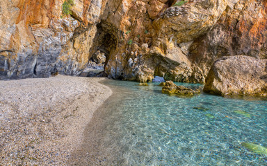 Arch passage at Mylopotamos beach, Pelio, Thessaly, Greece