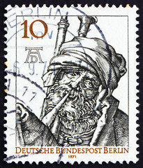 Postage stamp Germany 1971 Bagpipe Player by Durer