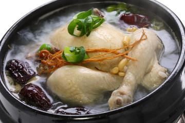 steaming samgyetang, chicken soup with ginseng, korean food