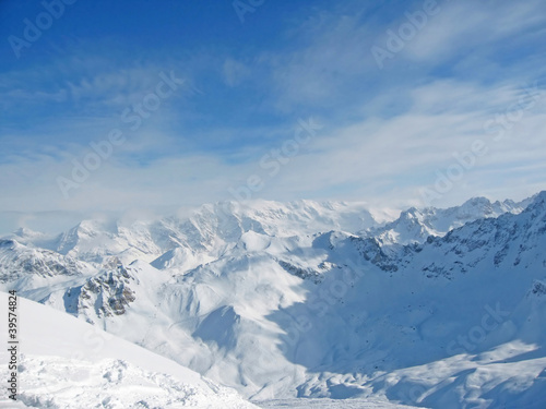 Snowy mountain range French Alpes