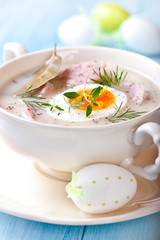 Borscht with eggs and white sausage ( Polish easter soup)
