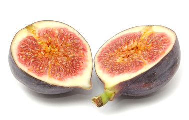 Fresh Fig Cut in Half Isolated on White Background