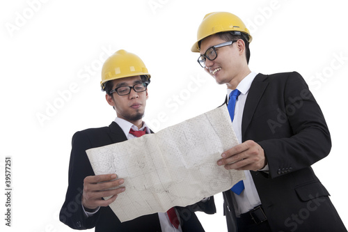 Architects checking the blueprint