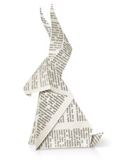 rabbit paper origami toy vector illustration isolated on white