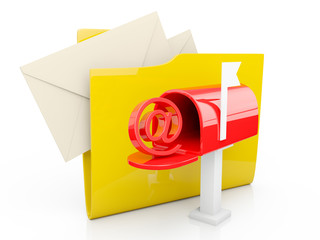 3d illustration: computer folder icon mailbox on a white backgro