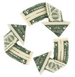 Recycle Sign made with US Dollars isolated