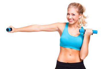 junge blonde Frau beim Aerobictraining