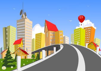 Vector city and bridge