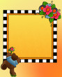 Little bear & flower bouquet, frame space for photo, text