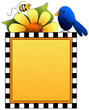 Spring cutout - bluebird, sunflower, bee on checkerboard  frame