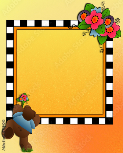 Little bear & flower bouquet, frame space for photo, text