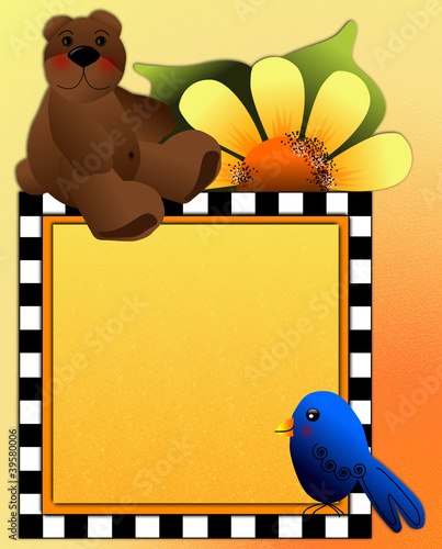Teddy bear, bluebird & coneflowers, frame space for photos, text