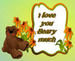 Little bear with coneflowers, frame space for photos, text