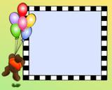 Teddy bear with balloons, frame space for photos, text, caption