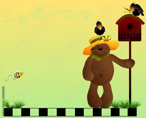 Teddy bear, birdhouse & crows background-space for photos, text