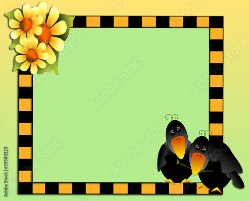 Colorful pair of blackbirds & sunflowers on checkered border