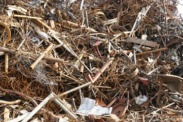 Iron scrap on dump site