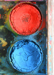 Very old used water color paint box top down view