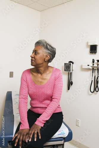 Female patient in examination room