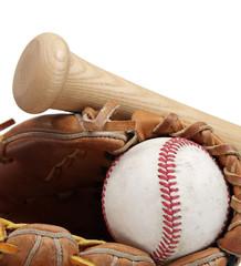 Baseball, bat, mitt