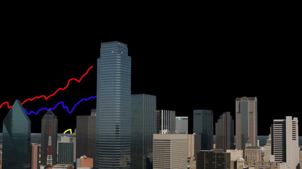 Dallas skyline with graphs animation