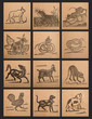 Vintage paper of 12 Chinese zodiac signs