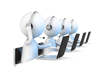 Help Desk. 3D little human character X 4 in a Call Center.