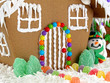 Closeup of gingerbread house and snowman
