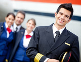 Captain pilot with cabin crew