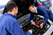 Mechanics at a car garage