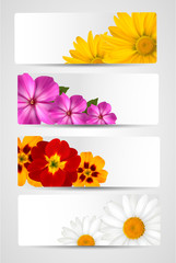 Set of banners with different colorful flower