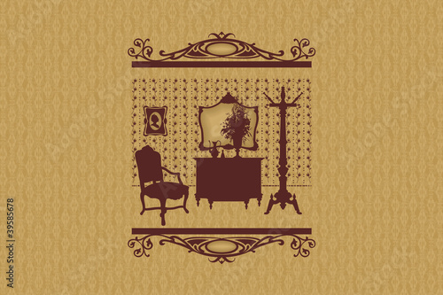 Room silhouette, furniture.