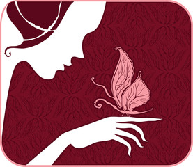 Silhouettes of a woman's face, hands and a butterfly