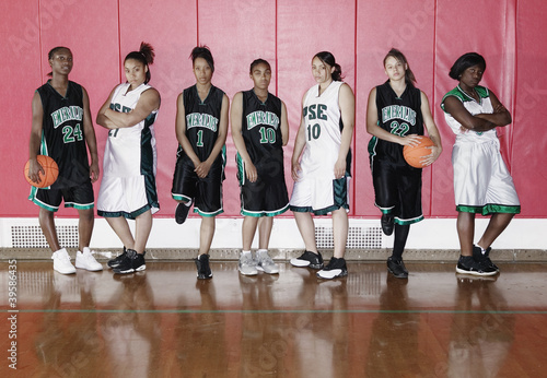 Portrait of teenage girl's basketball team