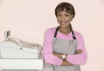 Portrait of female cashier
