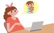 赤ちゃんを楽しみにする女性