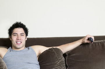 Portrait of man on couch