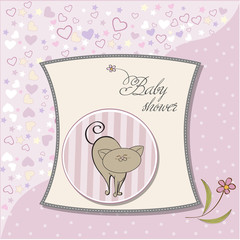 baby announcement card with cat