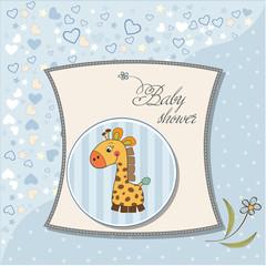 new baby boy announcement card with giraffe