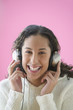 Teen girl listening to music with headset