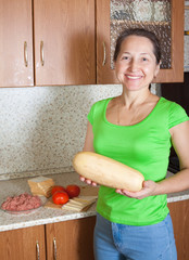 woman with marrow squash
