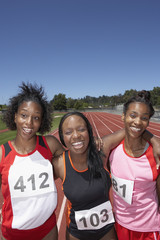 Portrait of female track athletes