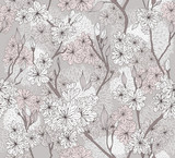 Seamless cherry blossom flowers pattern. Abstract floral pattern - 39591291